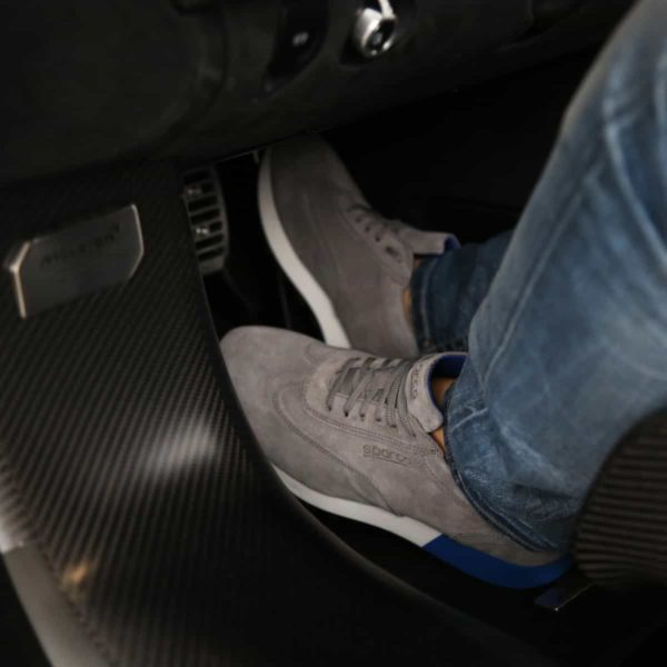 Sparco Imola-Run Grey Shoes Sneakers in Suede Picture2: Designed for ultimate street durability and performance, Sparco Imola Grey Shoes is what you'd expect in a competition driving shoes. These shoes feature a high-quality sole for leisure/casual use and would make great driving shoes. Comfortable and can be used for everyday car and motorbike driving, touring, racing, karting and even sim racing.