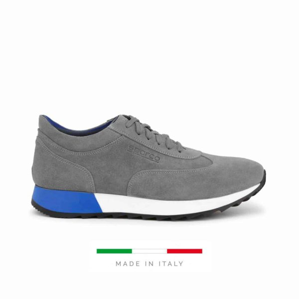 Sparco Imola-Run Grey Shoes Sneakers in Suede Picture1: Designed for ultimate street durability and performance, Sparco Imola Grey Shoes is what you'd expect in a competition driving shoes. These shoes feature a high-quality sole for leisure/casual use and would make great driving shoes. Comfortable and can be used for everyday car and motorbike driving, touring, racing, karting and even sim racing.