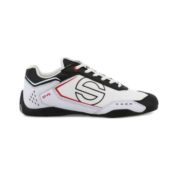 Sparco SP-F5 White/Black Shoes Sneakers in Leather Picture1: Designed for ultimate street durability and performance, Sparco SP-F5 White/Black Shoes is what you'd expect in a competition driving shoes. That is why these shoes/boots feature a thin sole for maximum pedal feel and control. The sole continues up the heel's back to provide a smooth and stable pivoting point for heel-toe shifting. Comfortable shoes/boots that can be used for everyday car and motorbike driving, touring, racing, karting and even sim racing.