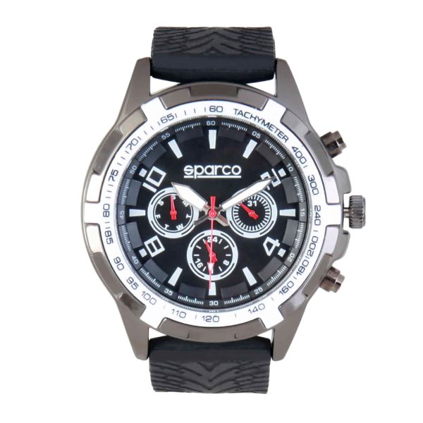 Sparco Eddie Black Watch Picture1: The sporty watch collection from Sparco accompanies you in your everyday life by providing an inimitable racing touch to your look. Eddie model from Sparco is designed to complement differing outfits from sportswear to casual wear. The sporty design with a durable black strap is sure to impress.
