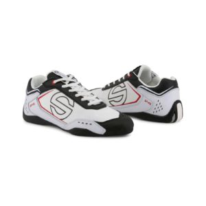 Sparco SP-F5 White/Black Shoes Sneakers in Leather Picture8: Designed for ultimate street durability and performance, Sparco SP-F5 White/Black Shoes is what you'd expect in a competition driving shoes. That is why these shoes/boots feature a thin sole for maximum pedal feel and control. The sole continues up the heel's back to provide a smooth and stable pivoting point for heel-toe shifting. Comfortable shoes/boots that can be used for everyday car and motorbike driving, touring, racing, karting and even sim racing.