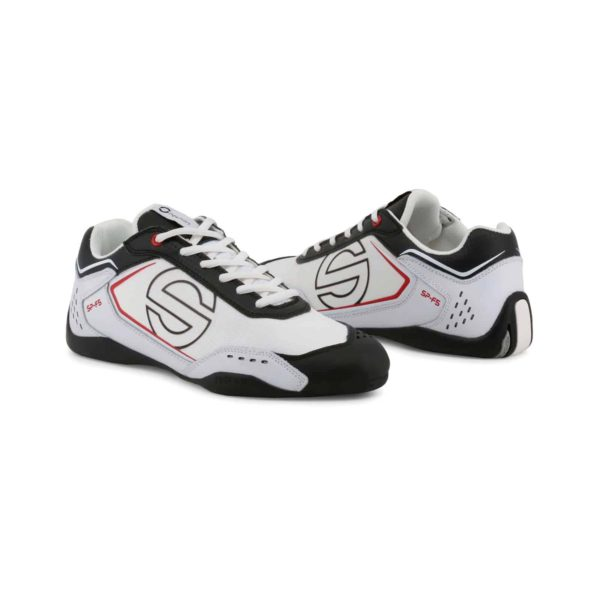 Sparco SP-F5 White/Black Shoes Sneakers in Leather Picture3: Designed for ultimate street durability and performance, Sparco SP-F5 White/Black Shoes is what you'd expect in a competition driving shoes. That is why these shoes/boots feature a thin sole for maximum pedal feel and control. The sole continues up the heel's back to provide a smooth and stable pivoting point for heel-toe shifting. Comfortable shoes/boots that can be used for everyday car and motorbike driving, touring, racing, karting and even sim racing.