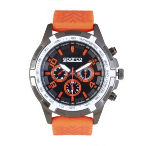 Sparco Eddie Orange Watch Picture6: The sporty watch collection from Sparco accompanies you in your everyday life by providing an inimitable racing touch to your look. Eddie model from Sparco is designed to complement differing outfits from sportswear to casual wear. The sporty design with a durable Orange strap is sure to impress.