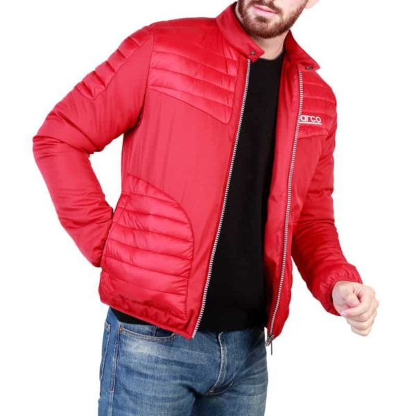 Sparco Bloomington Red Jacket Picture1: Sparco Bloomington Jacket marked with Sparco logo; it comes in contrasting zip, 2 external pockets with snap button, ribbed waist and cuffs. Brilliant for casual outings and perfect companion as you go about your busy life or during sports and racing events.