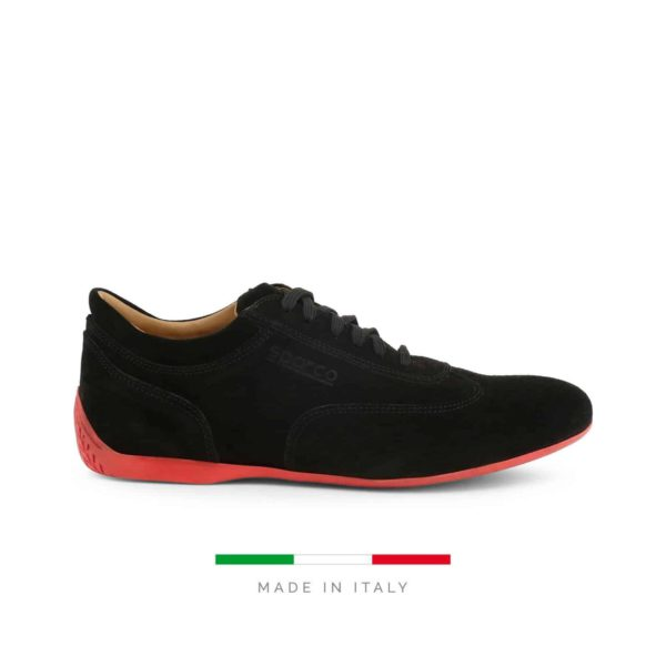 Sparco Imola-GPC Black Shoes Sneakers in Suede Picture1: Designed for ultimate street durability and performance, Sparco Imola-GPC Black Shoes is what you'd expect in a competition driving shoes. That is why these shoes/boots feature a thin sole for maximum pedal feel and control. The sole continues up the heel's back to provide a smooth and stable pivoting point for heel-toe shifting. Comfortable shoes/boots that can be used for everyday car and motorbike driving, touring, racing, karting and even sim racing.