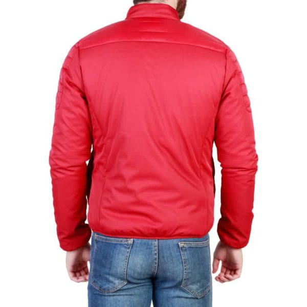 Sparco Bloomington Red Jacket Picture2: Sparco Bloomington Jacket marked with Sparco logo; it comes in contrasting zip, 2 external pockets with snap button, ribbed waist and cuffs. Brilliant for casual outings and perfect companion as you go about your busy life or during sports and racing events.