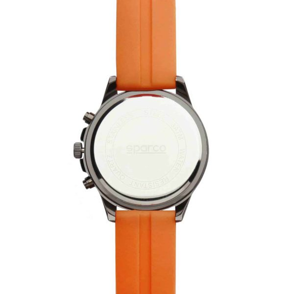 Sparco Eddie Orange Watch Picture5: The sporty watch collection from Sparco accompanies you in your everyday life by providing an inimitable racing touch to your look. Eddie model from Sparco is designed to complement differing outfits from sportswear to casual wear. The sporty design with a durable Orange strap is sure to impress.