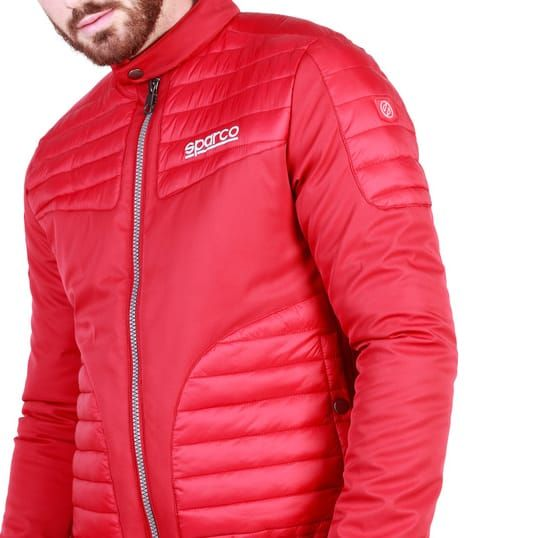 Sparco Bloomington Red Jacket Picture3: Sparco Bloomington Jacket marked with Sparco logo; it comes in contrasting zip, 2 external pockets with snap button, ribbed waist and cuffs. Brilliant for casual outings and perfect companion as you go about your busy life or during sports and racing events.