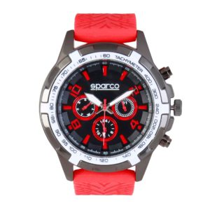 Sparco Eddie Red Watch Picture6: The sporty watch collection from Sparco accompanies you in your everyday life by providing an inimitable racing touch to your look. Eddie model from Sparco is designed to complement differing outfits from sportswear to casual wear. The sporty design with a durable red strap is sure to impress.