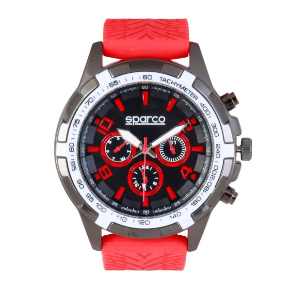 Sparco Eddie Red Watch Picture1: The sporty watch collection from Sparco accompanies you in your everyday life by providing an inimitable racing touch to your look. Eddie model from Sparco is designed to complement differing outfits from sportswear to casual wear. The sporty design with a durable red strap is sure to impress.