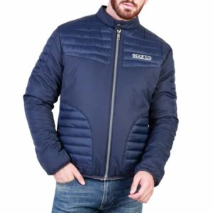 Sparco Bloomington Blue Jacket Picture4: Sparco Bloomington Jacket marked with Sparco logo; it comes in contrasting zip, 2 external pockets with snap button, ribbed waist and cuffs. Brilliant for casual outings and perfect companion as you go about your busy life or during sports and racing events.