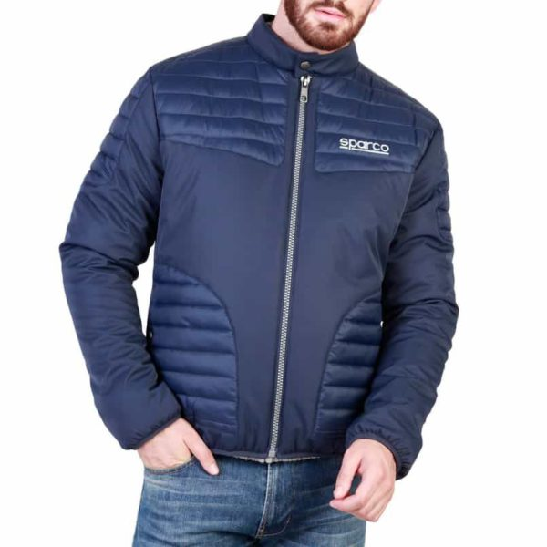 Sparco Bloomington Blue Jacket Picture1: Sparco Bloomington Jacket marked with Sparco logo; it comes in contrasting zip, 2 external pockets with snap button, ribbed waist and cuffs. Brilliant for casual outings and perfect companion as you go about your busy life or during sports and racing events.
