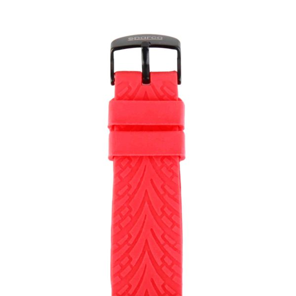 Sparco Eddie Red Watch Picture4: The sporty watch collection from Sparco accompanies you in your everyday life by providing an inimitable racing touch to your look. Eddie model from Sparco is designed to complement differing outfits from sportswear to casual wear. The sporty design with a durable red strap is sure to impress.
