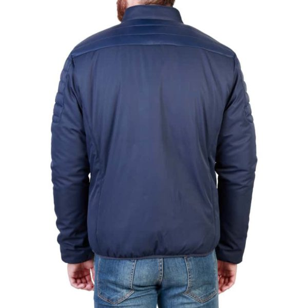 Sparco Bloomington Blue Jacket Picture2: Sparco Bloomington Jacket marked with Sparco logo; it comes in contrasting zip, 2 external pockets with snap button, ribbed waist and cuffs. Brilliant for casual outings and perfect companion as you go about your busy life or during sports and racing events.