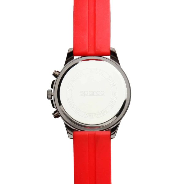 Sparco Eddie Red Watch Picture5: The sporty watch collection from Sparco accompanies you in your everyday life by providing an inimitable racing touch to your look. Eddie model from Sparco is designed to complement differing outfits from sportswear to casual wear. The sporty design with a durable red strap is sure to impress.