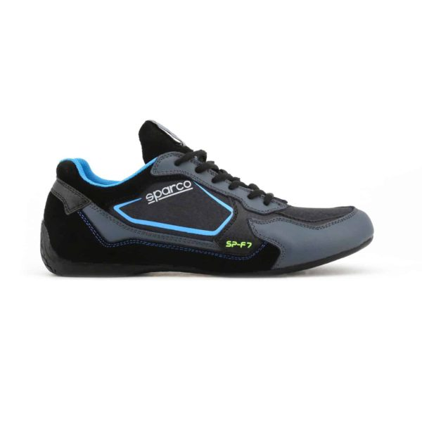 Sparco SP-F7 Black Shoes Sneakers Picture1: Designed for ultimate street durability and performance, Sparco SP-F7 Black Shoes is what you'd expect in a competition driving shoes. That is why these shoes/boots feature a thin sole for maximum pedal feel and control. The sole continues up the heel's back to provide a smooth and stable pivoting point for heel-toe shifting. Comfortable shoes/boots that can be used for everyday car and motorbike driving, touring, racing, karting and even sim racing.