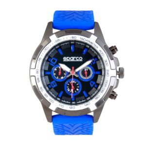 Sparco Eddie Blue Watch Picture6: The sporty watch collection from Sparco accompanies you in your everyday life by providing an inimitable racing touch to your look. Eddie model from Sparco is designed to complement differing outfits from sportswear to casual wear. The sporty design with a durable blue strap is sure to impress.