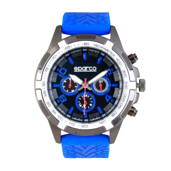 Sparco Eddie Blue Watch Picture1: The sporty watch collection from Sparco accompanies you in your everyday life by providing an inimitable racing touch to your look. Eddie model from Sparco is designed to complement differing outfits from sportswear to casual wear. The sporty design with a durable blue strap is sure to impress.