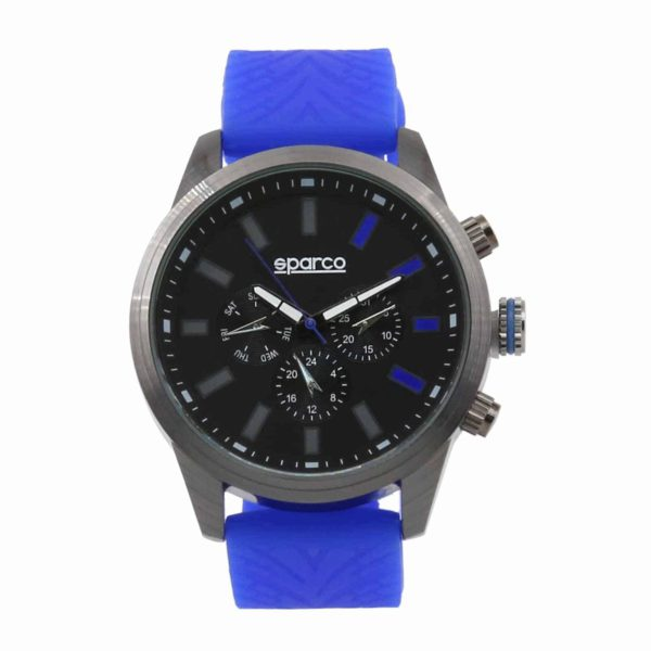 Sparco Niki Blue Watch Picture1: The sporty Niki watch from Sparco accompanies you in your everyday life by providing an inimitable racing touch to your look. This model from Sparco is designed to complement differing outfits from sportswear to casual wear. The sporty design with a durable blue strap is sure to impress.