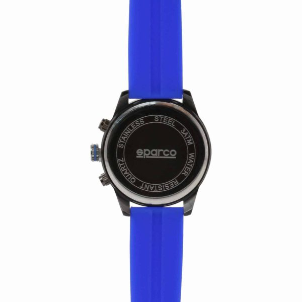 Sparco Niki Blue Watch Picture5: The sporty Niki watch from Sparco accompanies you in your everyday life by providing an inimitable racing touch to your look. This model from Sparco is designed to complement differing outfits from sportswear to casual wear. The sporty design with a durable blue strap is sure to impress.