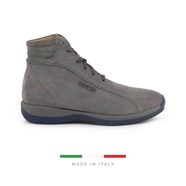 Sparco Monza-GP1 Grey Shoes Sneakers in Suede Picture1: Designed for ultimate street durability and performance, Sparco Monza-GP1 Grey Shoes is what you'd expect in a competition driving shoes. That is why these shoes/boots feature a high quality rubber sole for maximum pedal feel and control. The non slip sole continues up the heel's back to provide a smooth and stable pivoting point for heel-toe shifting. Comfortable shoes/boots that can be used for everyday car and motorbike driving, touring, racing, karting and even sim racing.