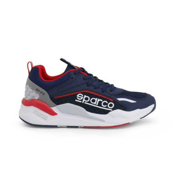 Sparco SP-FX Navy/Red Shoes Sneakers Picture1: Designed for ultimate street durability and performance, Sparco SP-FX Navy/Red Shoes is ideal for everyday driving, casual outing and training. From the experience of 4 wheels to the world of StreetStyle, these sneakers combine technology and urban design to give you maximum comfort. With a breathable upper, ultraflex+ sole and stabiliser band, your feet will always be in pole position.