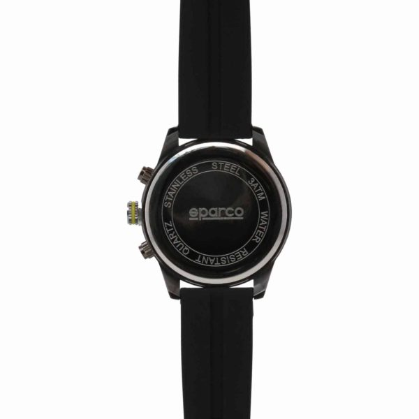 Sparco Niki Black/Yellow Watch Picture5: The sporty Niki watch from Sparco accompanies you in your everyday life by providing an inimitable racing touch to your look. This model from Sparco is designed to complement differing outfits from sportswear to casual wear. The sporty design with a durable Black strap is sure to impress.