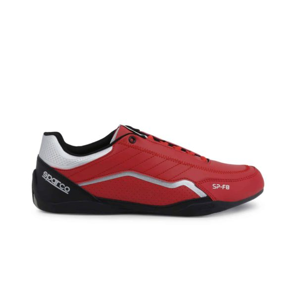 Sparco SP-F8 Red Shoes Sneakers Picture1: Designed for ultimate street durability and performance, Sparco SP-F8 Red Shoes is what you'd expect in a competition driving shoes. That is why these shoes/boots feature a thin sole for maximum pedal feel and control. The sole continues up the heel's back to provide a smooth and stable pivoting point for heel-toe shifting. Comfortable shoes/boots that can be used for everyday car and motorbike driving, touring, racing, karting and even sim racing.