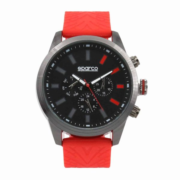 Sparco Niki Red Watch Picture1: The sporty Niki watch from Sparco accompanies you in your everyday life by providing an inimitable racing touch to your look. This model from Sparco is designed to complement differing outfits from sportswear to casual wear. The sporty design with a durable Red strap is sure to impress.