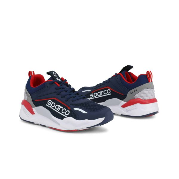 Sparco SP-FX Navy/Red Shoes Sneakers Picture3: Designed for ultimate street durability and performance, Sparco SP-FX Navy/Red Shoes is ideal for everyday driving, casual outing and training. From the experience of 4 wheels to the world of StreetStyle, these sneakers combine technology and urban design to give you maximum comfort. With a breathable upper, ultraflex+ sole and stabiliser band, your feet will always be in pole position.
