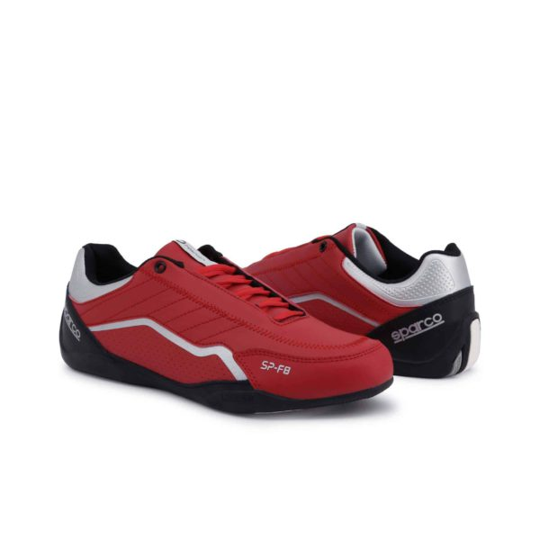 Sparco SP-F8 Red Shoes Sneakers Picture3: Designed for ultimate street durability and performance, Sparco SP-F8 Red Shoes is what you'd expect in a competition driving shoes. That is why these shoes/boots feature a thin sole for maximum pedal feel and control. The sole continues up the heel's back to provide a smooth and stable pivoting point for heel-toe shifting. Comfortable shoes/boots that can be used for everyday car and motorbike driving, touring, racing, karting and even sim racing.