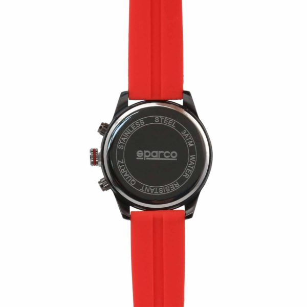 Sparco Niki Red Watch Picture5: The sporty Niki watch from Sparco accompanies you in your everyday life by providing an inimitable racing touch to your look. This model from Sparco is designed to complement differing outfits from sportswear to casual wear. The sporty design with a durable Red strap is sure to impress.