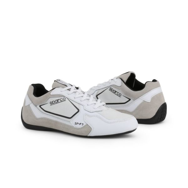 Sparco SP-F7 White/Black Shoes Sneakers Picture5: Designed for ultimate street durability and performance, Sparco SP-F7 White/Black Shoes is what you'd expect in a competition driving shoes. That is why these shoes/boots feature a thin sole for maximum pedal feel and control. The sole continues up the heel's back to provide a smooth and stable pivoting point for heel-toe shifting. Comfortable shoes/boots that can be used for everyday car and motorbike driving, touring, racing, karting and even sim racing.