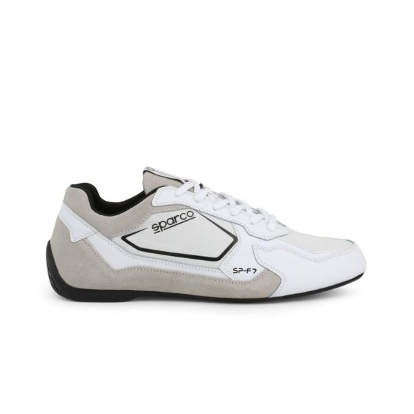 Sparco SP-F7 White/Black Shoes Sneakers Picture1: Designed for ultimate street durability and performance, Sparco SP-F7 White/Black Shoes is what you'd expect in a competition driving shoes. That is why these shoes/boots feature a thin sole for maximum pedal feel and control. The sole continues up the heel's back to provide a smooth and stable pivoting point for heel-toe shifting. Comfortable shoes/boots that can be used for everyday car and motorbike driving, touring, racing, karting and even sim racing.