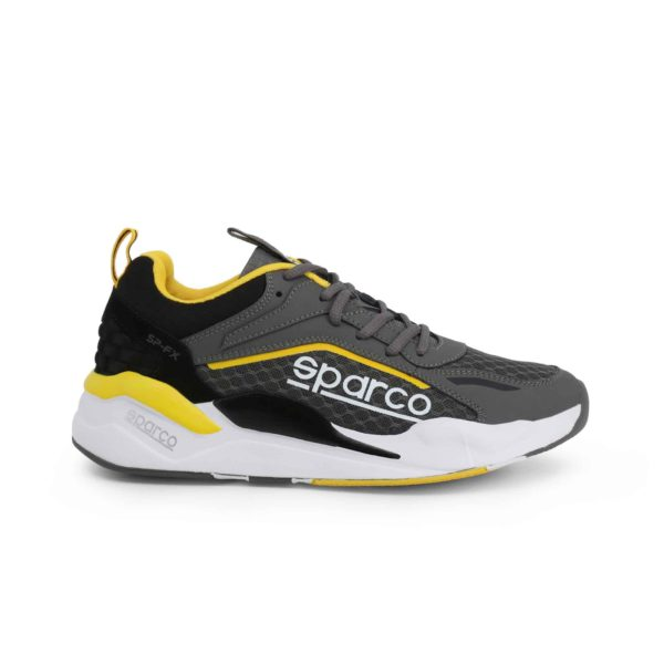 Sparco SP-FX Grey/Yellow Shoes Sneakers Picture1: Designed for ultimate street durability and performance, Sparco SP-FX Grey/Yellow Shoes is ideal for everyday driving, casual outing and training. From the experience of 4 wheels to the world of StreetStyle, these sneakers combine technology and urban design to give you maximum comfort. With a breathable upper, ultraflex+ sole and stabiliser band, your feet will always be in pole position.