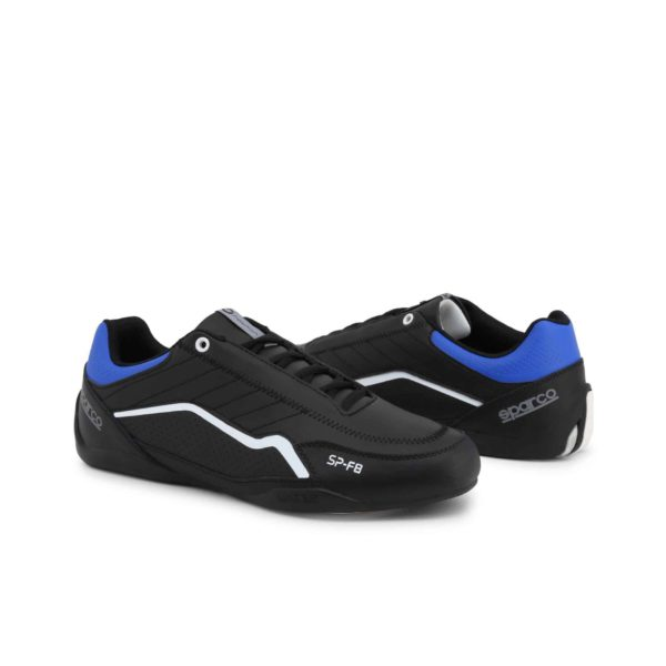 Sparco SP-F8 Black Shoes Sneakers Picture3: Designed for ultimate street durability and performance, Sparco SP-F8 Black Shoes is what you'd expect in a competition driving shoes. That is why these shoes/boots feature a thin sole for maximum pedal feel and control. The sole continues up the heel's back to provide a smooth and stable pivoting point for heel-toe shifting. Comfortable shoes/boots that can be used for everyday car and motorbike driving, touring, racing, karting and even sim racing.