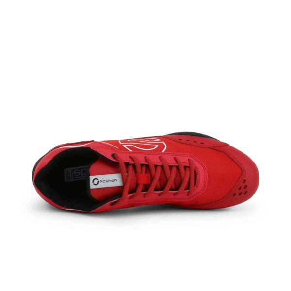 Sparco SP-F5 Red Shoes Sneakers in Leather Picture4: Designed for ultimate street durability and performance, Sparco SP-F5 Red Shoes is what you'd expect in a competition driving shoes. That is why these shoes/boots feature a thin sole for maximum pedal feel and control. The sole continues up the heel's back to provide a smooth and stable pivoting point for heel-toe shifting. Comfortable shoes/boots that can be used for everyday car and motorbike driving, touring, racing, karting and even sim racing.