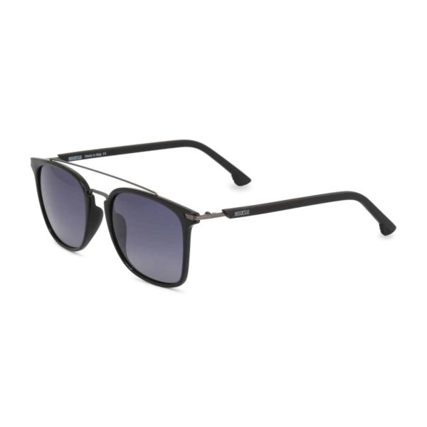 Sparco Podium Black Sunglasses with Black Tint Lenses Picture2: Sparco Podium Black Sunglasses are light, stylish, sporty and made in Italy by Sparco, a true piece of racing fashion. It comes with polarised lenses to protect your eyes. Sparco sunglasses are simple and trendy that can complete every outfit from sporty look to everyday glamorous style.
