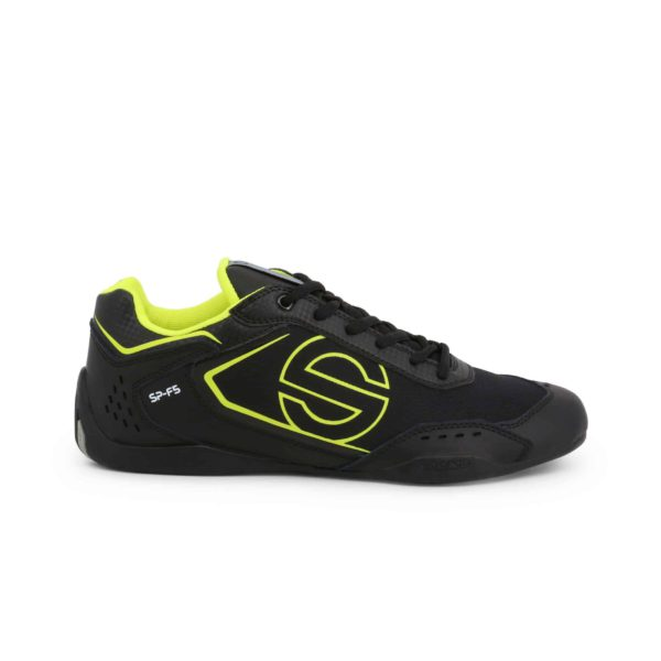 Sparco SP-F5 Black Shoes Sneakers in Leather Picture1: Designed for ultimate street durability and performance, Sparco SP-F5 Black Shoes is what you'd expect in a competition driving shoes. That is why these shoes/boots feature a thin sole for maximum pedal feel and control. The sole continues up the heel's back to provide a smooth and stable pivoting point for heel-toe shifting. Comfortable shoes/boots that can be used for everyday car and motorbike driving, touring, racing, karting and even sim racing.