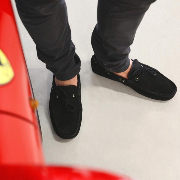 Sparco Magny-Cours-GP Black Shoes Moccasins in Suede Picture2: Designed for ultimate comfort and style, Sparco Magny-Cours-GP Black Moccasins is what you'd want to drive around the city with or for touring. The rubber sole is so flexible and rounds at the heel to provide a smooth and stable pivoting point. This loafer can be paired easily with matching clothes to give you the casual and smart look you're after while maintaining your comfort level for the long haul.