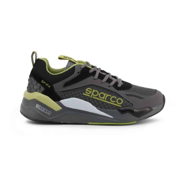 Sparco SP-FX Grey/Green Shoes Sneakers Picture1: Designed for ultimate street durability and performance, Sparco SP-FX Grey/Green Shoes is ideal for everyday driving, casual outing and training. From the experience of 4 wheels to the world of StreetStyle, these sneakers combine technology and urban design to give you maximum comfort. With a breathable upper, ultraflex+ sole and stabiliser band, your feet will always be in pole position.
