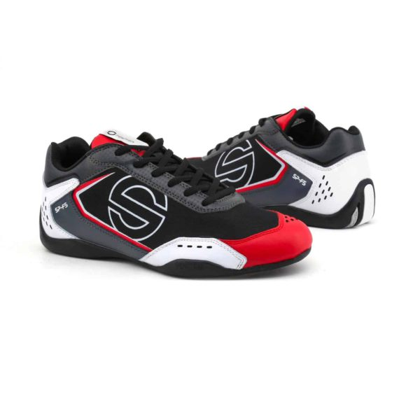 Sparco SP-F5 White/Black/Red Shoes Sneakers in Leather Picture3: Designed for ultimate street durability and performance, Sparco SP-F5 White/Black/Red Shoes is what you'd expect in a competition driving shoes. That is why these shoes/boots feature a thin sole for maximum pedal feel and control. The sole continues up the heel's back to provide a smooth and stable pivoting point for heel-toe shifting. Comfortable shoes/boots that can be used for everyday car and motorbike driving, touring, racing, karting and even sim racing.