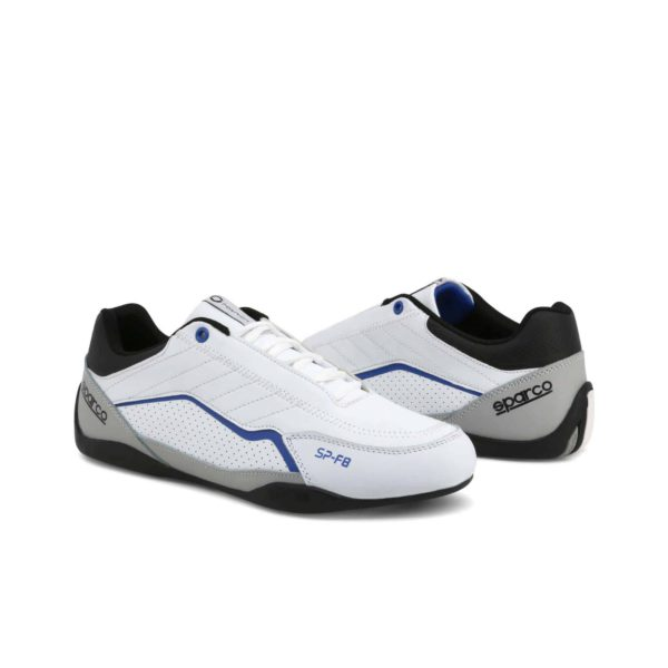 Sparco SP-F8 White Shoes Sneakers Picture3: Designed for ultimate street durability and performance, Sparco SP-F8 White Shoes is what you'd expect in a competition driving shoes. That is why these shoes/boots feature a thin sole for maximum pedal feel and control. The sole continues up the heel's back to provide a smooth and stable pivoting point for heel-toe shifting. Comfortable shoes/boots that can be used for everyday car and motorbike driving, touring, racing, karting and even sim racing.