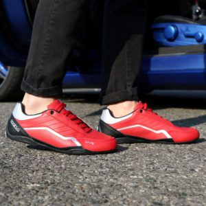 Sparco SP-F8 Red Shoes Sneakers Picture7: Designed for ultimate street durability and performance, Sparco SP-F8 Red Shoes is what you'd expect in a competition driving shoes. That is why these shoes/boots feature a thin sole for maximum pedal feel and control. The sole continues up the heel's back to provide a smooth and stable pivoting point for heel-toe shifting. Comfortable shoes/boots that can be used for everyday car and motorbike driving, touring, racing, karting and even sim racing.