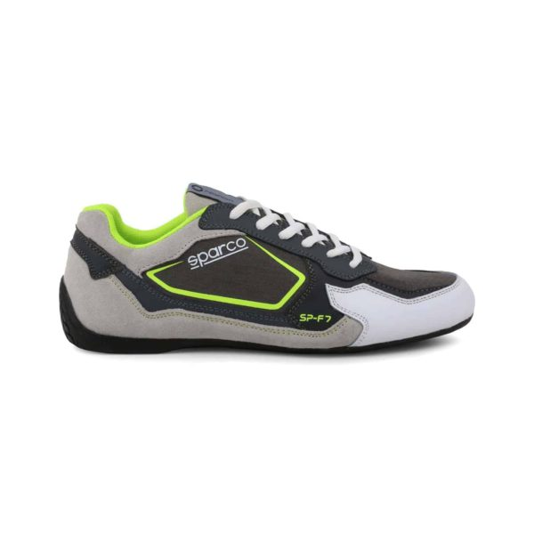Sparco SP-F7 Grey/Green Shoes Sneakers Picture1: Designed for ultimate street durability and performance, Sparco SP-F7 Grey/Green Shoes is what you'd expect in a competition driving shoes. That is why these shoes/boots feature a thin sole for maximum pedal feel and control. The sole continues up the heel's back to provide a smooth and stable pivoting point for heel-toe shifting. Comfortable shoes/boots that can be used for everyday car and motorbike driving, touring, racing, karting and even sim racing.
