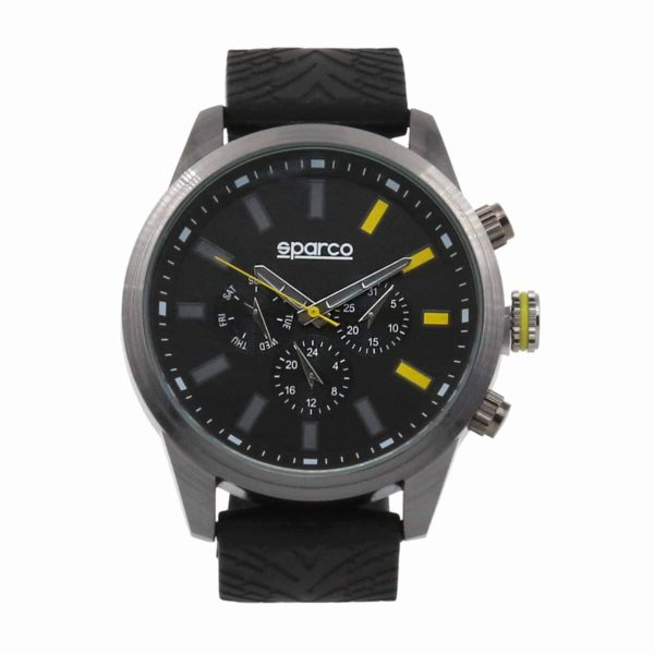 Sparco Niki Black/Yellow Watch Picture1: The sporty Niki watch from Sparco accompanies you in your everyday life by providing an inimitable racing touch to your look. This model from Sparco is designed to complement differing outfits from sportswear to casual wear. The sporty design with a durable Black strap is sure to impress.