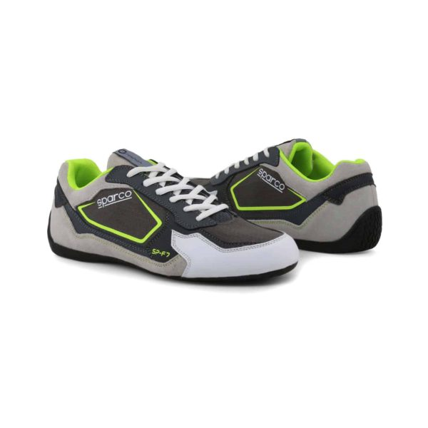 Sparco SP-F7 Grey/Green Shoes Sneakers Picture3: Designed for ultimate street durability and performance, Sparco SP-F7 Grey/Green Shoes is what you'd expect in a competition driving shoes. That is why these shoes/boots feature a thin sole for maximum pedal feel and control. The sole continues up the heel's back to provide a smooth and stable pivoting point for heel-toe shifting. Comfortable shoes/boots that can be used for everyday car and motorbike driving, touring, racing, karting and even sim racing.
